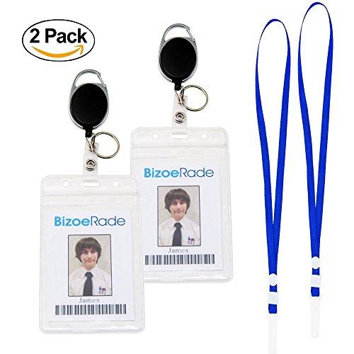 2 Stück Einziehbarer ID Card Abzeichenhalter, BizoeRade Heavy Duty Vertikaler ID-Karten-Abzeichenhalter mit Schlüsselring & Lanyard (Heavy-duty-id-abzeichen)
