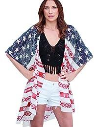 ... ❤ Amlaiworld Cárdigan de impresión de bandera americana de mujeres Chaqueta de gasa de mujer…