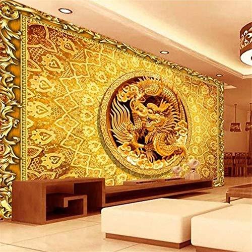 Pbldb Benutzerdefinierte Foto 3D Tapete Wandbild Vliestapete Gold Relief China Drachen Hd Foto Malerei Sofa Tv Backwall Schlafzimmer 3D Wandbild-280X200Cm (China Hirsche)