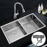Edelstahl Reversibel Küchenspüle Spülbecken Einbauspüle Voilamat mit zwei Becken 770x 450 mm