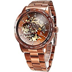 Alienwork IK Automatic Watch Self-winding Skeleton Mechanical Metal bronze brown bronze brown 98226G-D