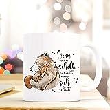 ilka parey wandtattoo-welt® Tasse mit Spruch Becher Kaffeetasse Kaffeebecher Bär & Eichhörnchen mit Spruch wenn man kuschelt... ts470