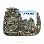 Bayon, Angkor Thom, Siem Reap, Kambodscha KHM, Asien–3D World Travel Harz handgefertigt Kühlschrank Magnet–Spielzeug, Souvenir, Memento, Geschenk, Sammlerstück, Dekor