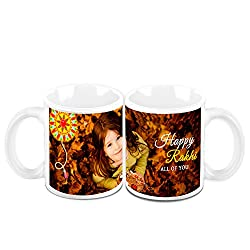 HomeSoGood Happy Rakhi All of You White Ceramic Coffee Mug - 325 ml (Set of 2)