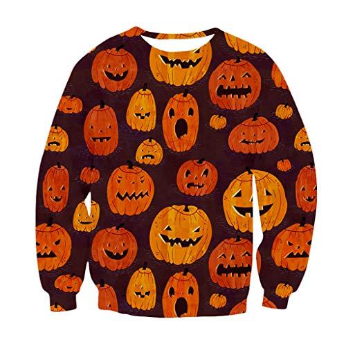 SEWORLD Halloween Kostüm Damen Herbst Halloween Schädel 3D Print Party Langarm Pullover mit O-Ausschnitt Sweatshirt Kapuzenpullover Oberteil Freizeithemd Rundhalspullover(Braun,EU-38/CN-L)