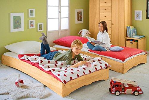 BioKinder 22132 Leandro Spar-Set Kinderbett Stapelbett aus Massivholz Erle 90 x 200 cm 2 Stück (Erle-set Bett)