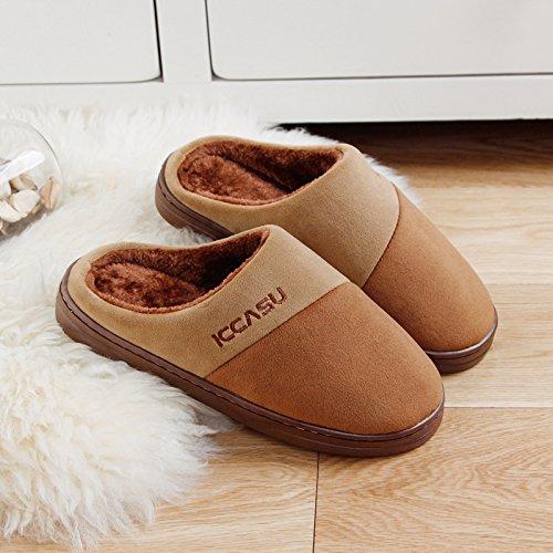 DogHaccd pantofole,Soggiorno anti-slittamento pantofole caldi nessun odore e eleganti uomini e donne paio di pantofole di cotone Brown4