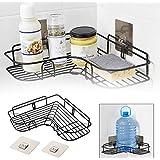 ORPIO (LABEL) Stainless Steel Bathroom Corner Shelf Organizer Storage Hanging Shower Caddy Rack (Black)