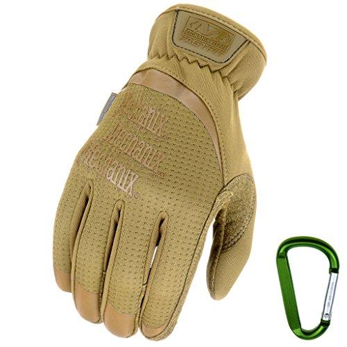 MECHANIX WEAR FASTFIT Einsatz-Handschuhe, optimale Passform, atmungsaktiv & Touchscreen fähig + Gear Karabiner in Coyote & Multicam Größe: S, M, L, XL (S, Coyote)