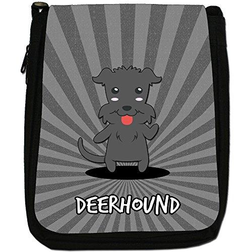 Scozzese Cartoon cani medium nero borsa in tela, taglia M Deerhound, Scottish Deerhound