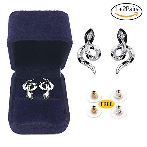 serpiente Stud Pendientes, INSANY Hipoalergénica Moda Joyería Platino pendientes de retención exclusiva Auriculares de-anillo