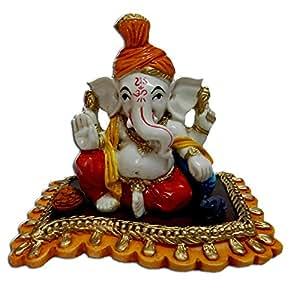 Anant Pagdi Ganesh Pagri Turban Seth Ganesha Idol on An Aasan