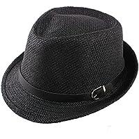 TININNA Moda Sombrero,Elegant verano sombrero de paja De Lino Verano Playa Gorro Para Mujer Hombre Unisex.(Negro)