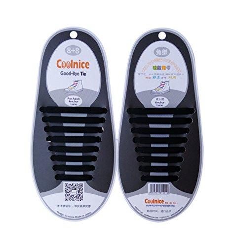 NimbleHouse (TM) 16PCS/Set Unisex Women/Men No Tie Elastic Silicone Shoe Laces Fit All Sneakers (Color Black)