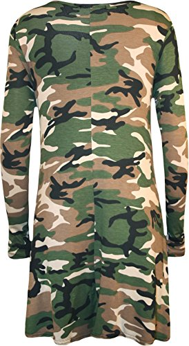 New Womens Plus Size Army Camouflage Print Long Sleeve Ladies Swing Dress 16 – Camouflage – 20-22