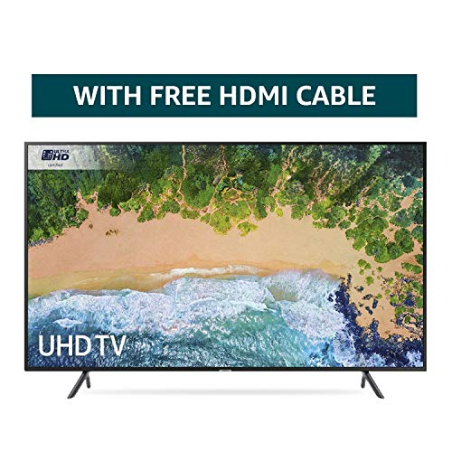 Samsung 65NU7100 65-Inch Ultra HD Smart 4K TV - Charcoal Black (2018 Model) + FREE Amazon High-Speed 0.9M HDMI 2.0 cable