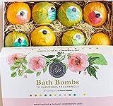 Bombes de Bain Coffret Cadeau 12x Boules Effervescentes Bath Bombs Set (120g) Emballé individuellement Naturel, végétalien Huiles essentielles pétillante coffret pour le bain, relaxant nuptiale set