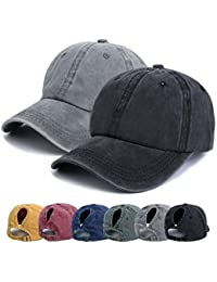 purchase cheap 816ca 328b0 Ponytail Baseball Hats Cap - Unisex Washed Trucker Hat Dad Cap, Solid Color  Adjustable Sun