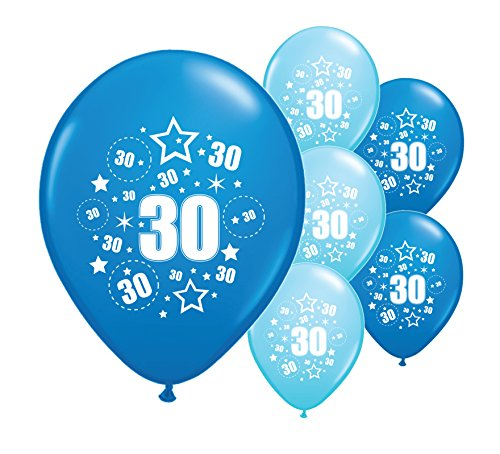 10 x 30th Birthday Balloons - choice of colours