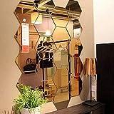 Lot de 12 miroirs acryliques autocollants muraux hexagonaux en plastique pour décoration d'intérieur, pour le salon, la chambre à coucher, au dessus du canapé ou de la télévision doré...