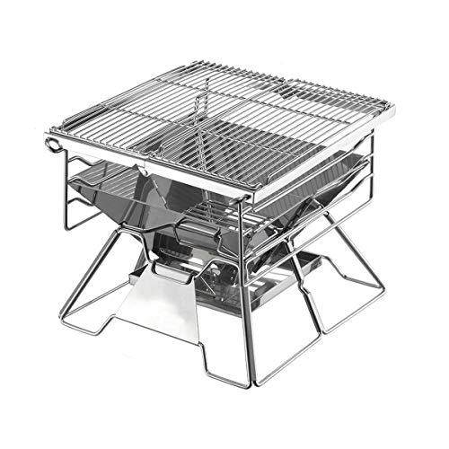 Betty Tabelle Edelstahl-BBQ-Grill/tragbarer faltender Grill-Regal- / Haushalts-Holzkohleofen- / im Freienkochen-kampierendes Wandern-Picknick-Rucksackreisen klein -