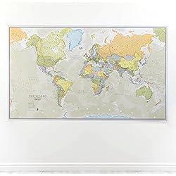 Mapa del mundo, plastificado, diseño Clásico: Europa, America, Asia, Oceania, Antártida