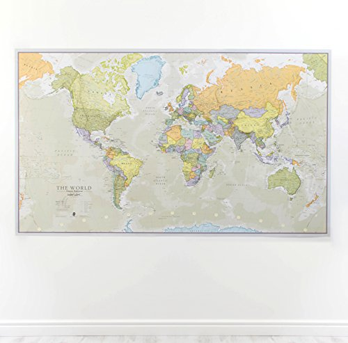 World map wall art amazon huge classic world map laminated encapsulated 197cm w x 1165cm h sciox Image collections