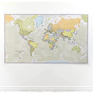 Maps International – Mapa del mundo gigante, póster clásico con el mapa del mundo, plastificado – 197 x 116,5 cm – Colores clásicos