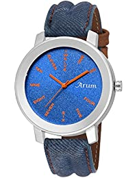 Arum New Collection Blue Round Shaped Dial Leather Strap Fashion Wrist Watch For Men's And Boy's