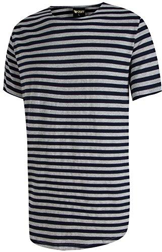 Pizoff Unisex Hip Hop Urban Basic langes T Shirts mit bretonischen Streifen mit rundem Saum Y1724-Navy-L (Marine-blau-team-logo-shorts)