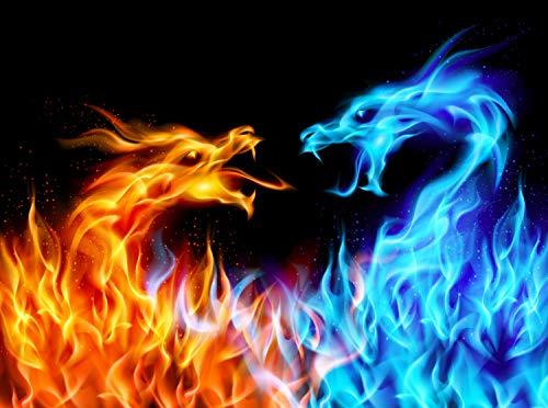 Preisvergleich Produktbild wandmotiv24 Fototapete Feuerdrachen KTk440 350cm Breit x 260cm Hoch Wandbild - Motivtapete