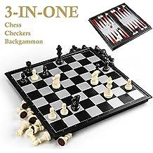 GiBot 3 in 1 Set di scacchiera, 32CM x 32CM Scacchiera Magnetica con Magnetici Scacchi, Dama, Backgammon per Bambini e Adulti, Scheda di Gioco Pieghevole e Portatile per Viaggi, bianco e nero