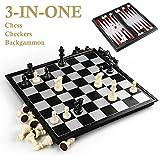 Échecs de jeu d'échecs GiBot 3-in-1 avec échiquier magnétique pendant que vous êtes en déplacement! C'est un must pour les longs trajets routiers! 3 types de jeux avec seulement 1 jeu d'échecs, si vous vous ennuyez d'un jeu, vous pouvez retourner le ...