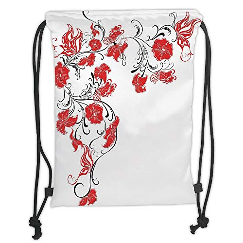 Icndpshorts Red and Black,Japanese Asian Decor Flowers Swirls Ivy and Leaves Butterflies Image,Scarlet and White Soft Satin,5 Liter Capacity,Adjustable String Closure - Ivy Leaf Trim