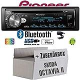 Skoda Octavia 2 1Z 1-DIN Nexus Columbus etc. - Autoradio Radio Pioneer DEH-S5000BT - Bluetooth | CD | MP3 | USB | Android | iPhone 12V Radiopaket Einbauzubehör - Einbauset