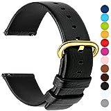 Fullmosa 12 Farben für Uhrenarmband, Kalbsleder Armband für Damen Heren Lederarmband mit Edelstahl Metall Schließe, 24mm, Schwarz mit Golden Schnalle