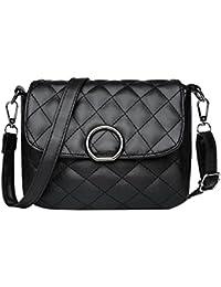 Vodool Plaid Ladies Elegant PU Leather Sling Messenger Bags Women Shoulder Crossbody Bag Flap Hasp Handbag