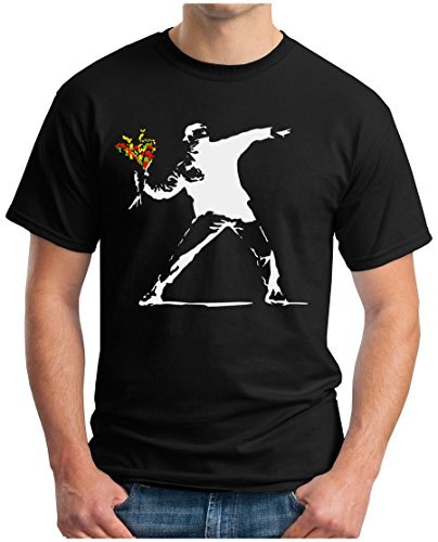OM3® - Banksy Flower Thrower WS - T-Shirt Urban Street Art Peace Paix Punk Indie Sozial Kritik Geek Swag, 3XL, Schwarz