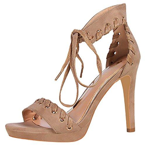Oasap Women's Peep Toe Platform Ankle Strap Lace-up Stiletto Sandals Khaki