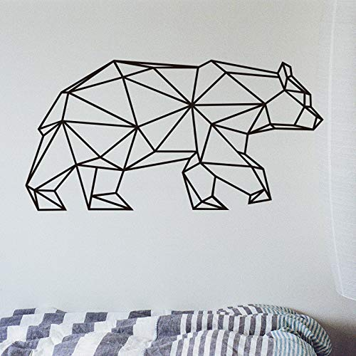 Origami Geometrische Bär Wandaufkleber Ausgangsdekor Vinyl Wandtattoo Kreative Tier Removable Wandbild Für Wohnzimmer 58X29CM -