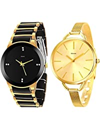 Kitcone Jewellery Bracelet Style Gold Plated Belt Women's Watch Men's Watch -Type-789MK(PACK OF 2)