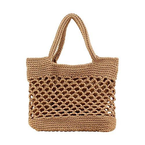 Haodou Stroh Handtasche Frauen Baumwollseil Stroh Strandtasche Platz Rattan Tasche Böhmen Handgefertigt Weben Tasche zum Strand Reise (hellbraun)