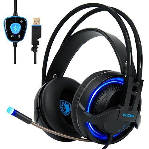SADES R2 Gaming Headset Digital Surround-Sound USB PC Stereo Gaming Kopfhörer mit hoher Empfindlichkeit Mikrofon Lautstärkeregelung LED-Licht (schwarz) Digitales Usb-stereo-headset