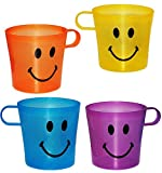 4 Stück _ Trinkbecher / Henkeltasse -' lustiges & lachendes Gesicht - BUNT' - aus Kunststoff Plastik - Tasse - Kindertasse / Kinderbecher - transparent & durchsichtig - für Baby - Trinklerntasse / Kleinkinder - Kindergeschirr - Becher Jungen & Mädchen - Henkelbecher - Kinder & Erwachsene - Campinggeschirr
