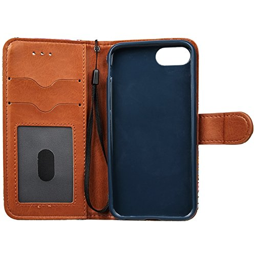 "xhorizon FM8 Weinlese Retro Blumenmuster Leder Brieftasche Fall Wallet Case Mit Perfektion Prime Design für iPhone 7 [4.7""] blau"