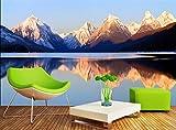 WAHAZC 3D Fresko Tapete Hintergrundbild Wandbild Silk Benutzerdefinierte Foto VliesWandaufkleber Meer Sky Mountain Spiegel Malerei Landschaft Raum, L150 * W105Cm
