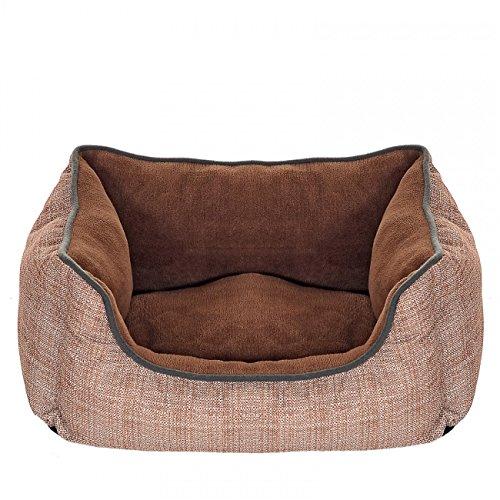 Hundebett mit Wendekissen - Korb kuschelig - einseitig wasserabweisend; Braun 50x38x18 cm