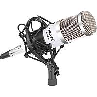 Neewer® Kit de micrófono de NW-800, incluye: (1) micrófono de condensador de estudio profesional + (1) montura antivibratoria + (1) cubierta de espuma antiviento tipo bola + (1) Cable de Audio (blanco)
