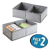 mDesign 2er-Set Schubladen Organizer mit je 2 Fächern - Stoff Aufbewahrungsbox für Büroutensilien - großer Schubladeneinsatz für Stifte, Haftnotizen, Büroklammern etc. - grau