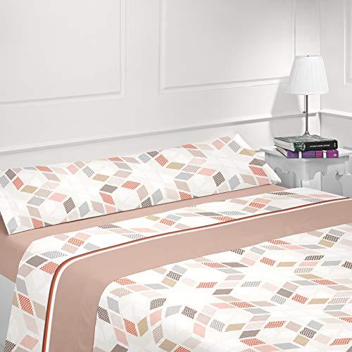 Energy Colors Textil-Hogar - Delfy - Juego Sábanas Completo Estampadas (Beige, 135_x_200_cm)
